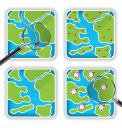 Map icons and magnifying glass vector