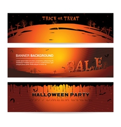 Set of halloween party banner vector