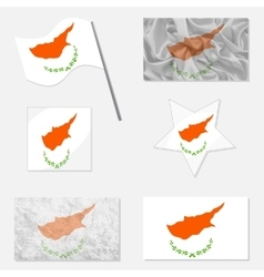 Set with flags of cyprus vector