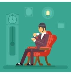Gentlemen Tea Time Drink Evening Flat Design vector image