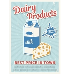 Dairy products retro style poster vector