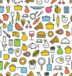 Kitchen tools and meal silhouette icons seamless vector