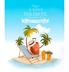 Beach with palm trees and beach chair summer vector