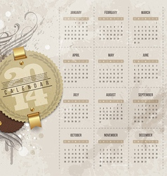Calendar of 2014 with vintage labels vector