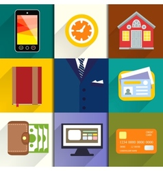Collection of entrepreneur icons vector image