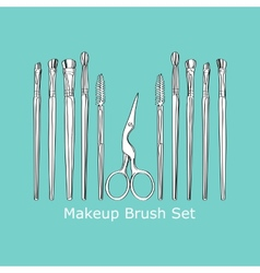 Cosmetic brush and scissors vector