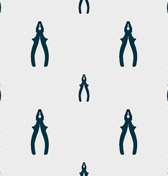Pliers icon sign seamless pattern with geometric vector