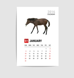 2016 january calendar horse polygon vector