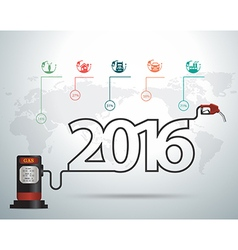 2016 new year ideas concept with gasoline pump vector image