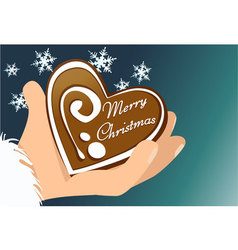 Christmas gingerbread heart vector
