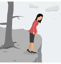 Depressed woman on a cliff looking down vector