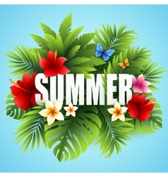 Summer tropical background of palm leaves and vector