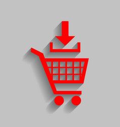 add to shopping cart sign red icon with vector image vector image