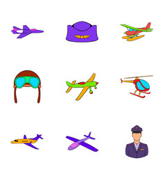 aronautics icons set cartoon style vector image vector image