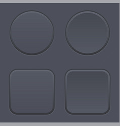 black blank buttons round and square shaped icons vector image