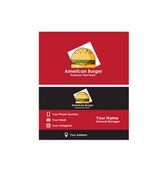 business card american burger vector image vector image
