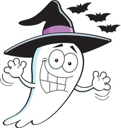 Cartoon ghost wearing a witch hat vector