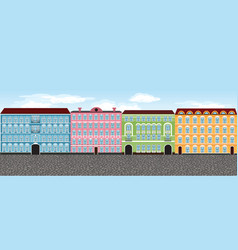 Europe city street set 1 multi-colored vector