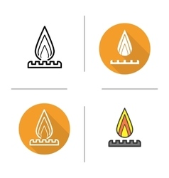 Gas burner icons vector