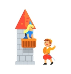 Girl and boy in medieval outfits playing parts of vector