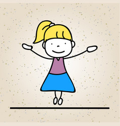 Hand drawing abstract happy cute girl line art vector