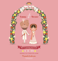 Indian wedding bride groom cartoon romantic pink vector
