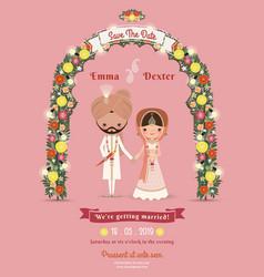 Indian Wedding Bride Groom Cartoon Romantic Pink vector image
