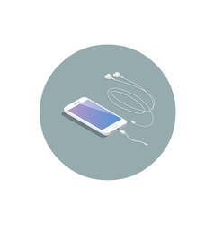 Isometric white smartphone with headphone adapter vector