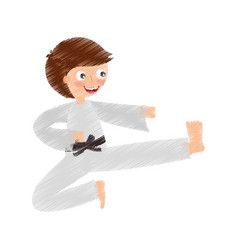 Little boy karateka icon vector