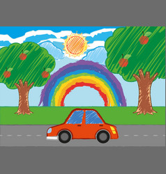 Scene with red car on the road vector