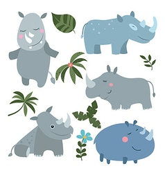 Set funny rhinoceroses vector image vector image