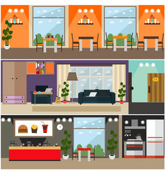 set of fast food interior flat posters vector image