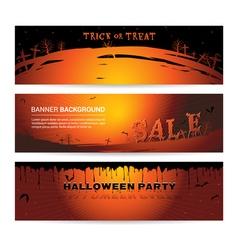 Set of halloween party banner vector