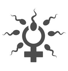 Sperm penetration flat icon vector