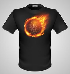 t shirts Black Fire Print man 20 vector image