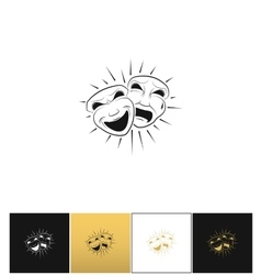 Theatrical comedy and tragedy masks icon vector