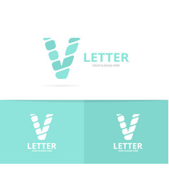 unique letter v logo design template vector image