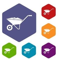 Wheelbarrow icons set vector