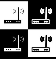 Wifi modem sign black and white icons and vector