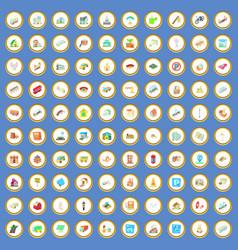100 city icons set cartoon vector image vector image