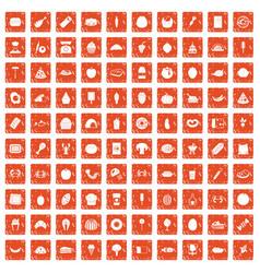 100 favorite food icons set grunge orange vector image