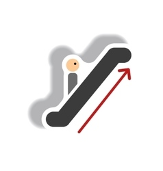 Stylish icon in paper sticker style escalator up vector