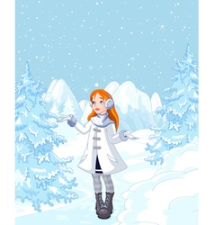 Cute girl enjoying a snowfall vector
