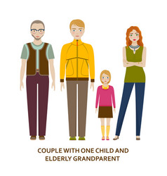 Couple with one child and elderly grandparent vector