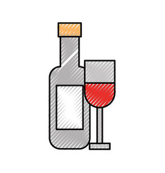 Wine cup with bottle vector