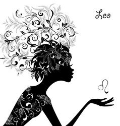 Zodiac sign leo fashion girl vector