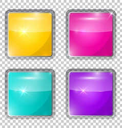 Transparent colorful rounded squares glass buttons vector
