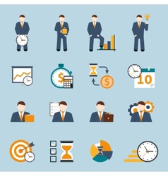 Time management flat icons set vector