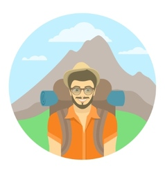 Young man tourist with a backpack on a background vector