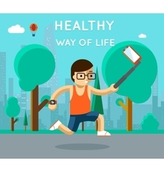 Healthy way of life sport monopod selfie in park vector